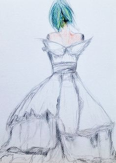 Carrie's Wedding dress drawing - Sex and City Wedding dress - dress sketch - pencils - dress anniversary gift - original fashion sketch