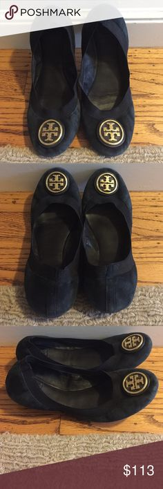 Tory Burch Caroline flats Black suede w/gold logo...impeccable condition...super comfy...price is LOWER thru Ⓜ️erc🅰ri!!! Tory Burch Shoes Flats & Loafers