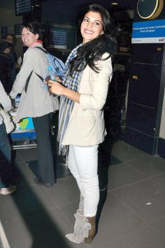 Jacqueline Fernandez at Mumbai airport on her way to Dubai. #Bollywood #Style #Fashion #Beauty