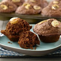 Cocoa-Banana Muffins: made with All-Bran Original cereal very yummy and easy to make! Banana Bran Muffins, My Favorite Food, Favorite Recipes, All Bran, Cacao, Muffin Recipes, Yummy Food, Healthy Food, Snacks