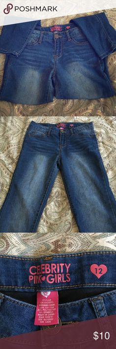 Medium wash girls jeans Girls jeans in great condition! Light fit. Only worn a handful of times Celebrity Pink Pants Straight Leg