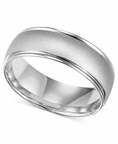 Men's 10k White Gold Ring, 6-1/2mm Wedding Band