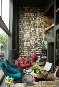 bücherregale Wandgestaltung mit Farbe wände gestalten originell