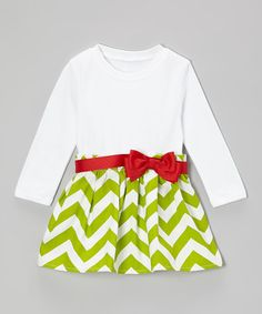 Loving this Spearmint & Red Bow Chevron Dress - Infant & Toddler on #zulily! #zulilyfinds