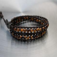 Mens Leather Wrap Tigers Eye Bracelet Mahabharat / style