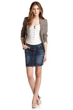denim skirt   blazer = revamp! | Fashion | Pinterest | Gettings ...