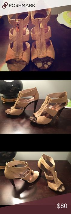 Michael Kors Tan Heels These Michael Kors heels are a huge hit!! I have worn them only a handful of times to weddings and got a million compliments each time! They are in great condition! The stains are only on the inside where your feet will cover! :) MICHAEL Michael Kors Shoes Heels