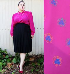 Plus Size  Vintage Pink Print Blouse Size 16 Fits by TheCurvyElle, $18.00