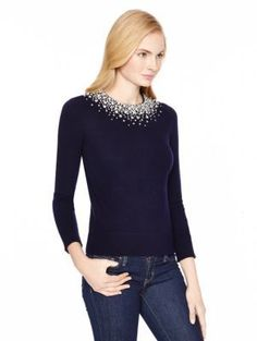 Grey Embellished Crew-neck Sweater: Kate Spade Madison Ave Collection Bretta Sweater