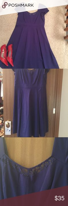 Beautiful Navy Blue Torrid dress This beautiful navy blue Torrid dress is lined in the chest area. It's 78% rayon/ 21% nylon/3% spandex. Worn once for about 5 hours torrid Dresses