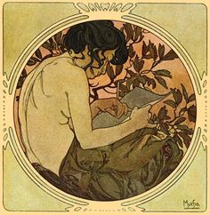 Sappho Inspired Painting by Mucha