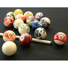 Marble Pool Balls / Billiard Balls - Full Set - Lifetime Warranty by Vantage. $32.99. This Grade A set of marble pool balls consists of 16 billiard / pool balls that are calibrated to achieve consistency of weight, roundness, and size from ball to ball. All balls except the cue ball have a marbleized design and each set is unique. This marblized pool ball set features a lifetime warranty against cracking or chipping that effects the roll of the ball.  Please note that some...