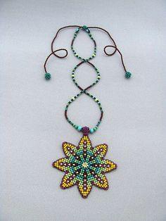 Mandala flor collar Mandala con cuentas de semilla Art