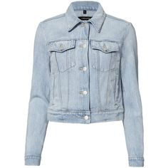 J Brand Women's Harlow Jean Jacket (720 BRL) ❤ liked on Polyvore featuring outerwear, jackets, denim jacket, coats, tops, denim, collar jacket, cropped denim jacket, j brand and blue jackets