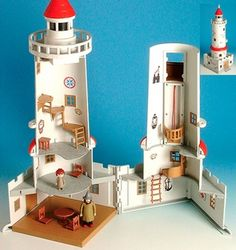 Lighthouse as a container for sweets. Make the walls transluscent and have a small LED on a helical track and have it make a silhouette of the sweet on a given level cast on a wall. Moomin lighthouse
