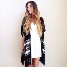 | new | kimono style cardigan offers welcome new without tag size medium/large black and white knit kimono style cardigan with fringed hem. •641033•  website: xomandysue.com instagram: xomandysue Tobi Sweaters Cardigans