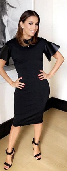Who made  Eva Longoria's black sandals and leather sleeve dress?