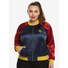 DC Comics Wonder Woman Satin Souvenir Jacket Plus Size ($89) ❤ liked on Polyvore featuring costumes, plus size womens costumes, plus size wonder woman costume, athena goddess costume, athena halloween costume and red costume