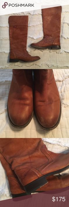 Tall Frye Melissa boots Only worn these a few times, minor scuff on the toe. Slip on, no zipper with pull tabs hidden inside. Frye Shoes Heeled Boots