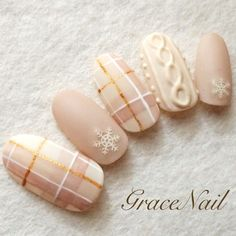 Nude plaid and sweater nails Plaid Nail Designs, Plaid Nail Art, Plaid Nails, Sweater Nails, Winter Nail Designs, Winter Nail Art, Nail Art Designs, Xmas Nails, Holiday Nails
