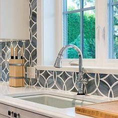 Blue Geometric Kitchen Backsplash Tiles with White Cabinets - Transitional - Kitchen - Benjamin Moore White Heron