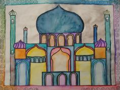 Watercolour Mosque Paintings, watercolor, mosque, architecture, 7th grade, 8th grade,