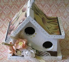 Shabby Chic Birdhouse with Floral Trim by SweetHomeDesigns on Etsy