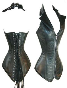 Women's Leather Corset Lingerie Bustier Top With G-string Black Color PU Corsets Zipper Front Vest Corsets Corset En Cuir, Corset Noir, Leather Bustier, Leather Vest, Leather Shoes, Jane Clothing, Leder Outfits, Steampunk Corset, Overbust Corset