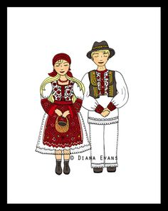 Croatian Folklore Dancers - The couple. $10.00, via Etsy.
