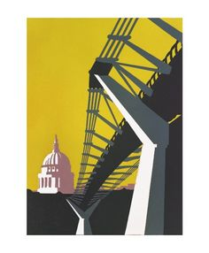 Bridge Lime a greetings card reproduced from a linocut of St Paul's Cathedral from across the Thames by Paul Catherall Film Festival Poster, Minimal Art, Architectural Features, Built Environment, Environmental Art, Linocut Prints, Urban Landscape, Travel Posters, Japanese Art