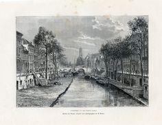 """Een antieke gravure (1879), voorstelling: """"Utrecht - De Oude Gracht"""", foto van M. Braun, ontworpen door Taylor, C. Laplante is de graveur.. Uitgave Hachette et Cie - Paris 1879. Bladformaat ca.19 x 27,6 cm, beeldformaat ca.12,8 x 18,8 cm"""