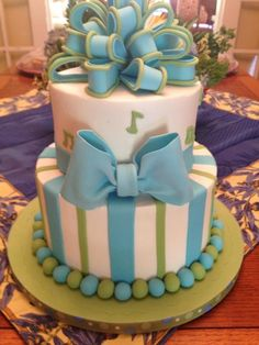 Baby boy shower cake. w/poka dots instead of notes