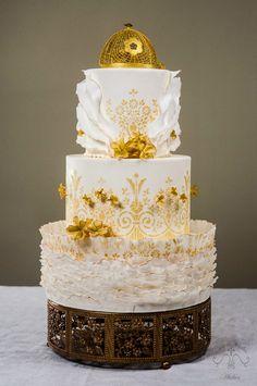 Gold Stenciled Wedding Cake