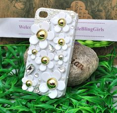 Little Daisy white pearls cell phone case for iphone 4S or iphone 5 case hard cover. $17.00, via Etsy.