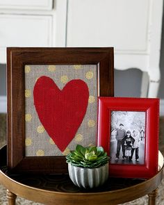 Framed Burlap Heart - fun Valentine's Day Decorations