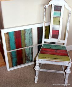Colorful reclaimed wood projects from Beyond the Picket Fence. I love the colorful wood panels in these pieces. Repurposed Furniture, Pallet Furniture, Furniture Projects, Furniture Makeover, Pallet Chair, Pallet Beds, Repurposed Wood, Salvaged Wood, Furniture Vintage