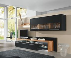 Bellano Contemporary Wall Storage Unit in Wood and Matt Lacquer/Opt LED Modular Furniture, Contemporary Furniture, Furniture Design, Modern Contemporary, Athens Apartment, Wood Tv Unit, Modern Tv Wall Units, Wall Storage Systems, Entertainment Wall Units