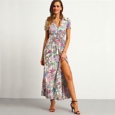Multicolor Floral Print Button Split Front Flare Maxi Short Sleeve V Neck Long Dress