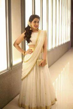 Kerala sari with a twist Set Saree, Half Saree Lehenga, Lehenga Gown, Saree Look, Anarkali Dress, Bridal Lehenga, Sari, Lengha Choli, Saree Wedding