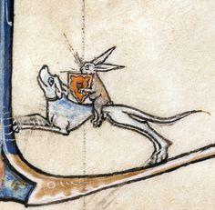 rabbit knightVincent of Beauvais, Speculum historiale, France ca. 1294-1297Boulogne-sur-Mer, Bibliothèque municipale, ms. 130II, fol. 87v