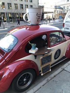 Post with 2239 votes and 6679 views. Tagged with awesome, the more you know, coffee, creativity; Shared by OctopussSevenTwo. This guy runs a coffee shop out of a Beetle. Food Trucks, Coffee Cubes, My Coffee, Coffee Shops, Coffee Break, Frozen Coffee, Beetle Car, Uses For Coffee Grounds, Creative Coffee