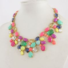 Colorful Summer Mix Statement Necklace by AppleofMyEyeJewelry, $39.99