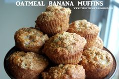 "Oatmeal banana muffins. I made these & they're GOOD. I took their tip & used honey instead of sugar AND used applesauce instead of oil. :) I plugged it all into a ""calorie calculator"" and it came out at about 100 calories per lg. muffin."