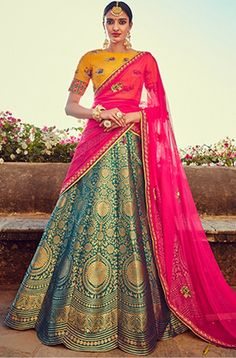 Zari Weaved Golden Yellow and Teal Lehenga Choli. Indian Bridal Wear, Indian Wedding Outfits, Indian Outfits, Choli Designs, Lehenga Designs, Indian Look, Indian Ethnic Wear, Silk Lehenga, Anarkali