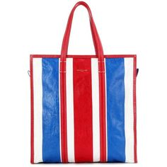 Balenciaga Bazar Medium Striped Leather Tote (25.758.790 IDR) ❤ liked on Polyvore featuring bags, handbags, tote bags, balenciaga, multicoloured, balenciaga tote, red leather tote bag, red leather tote, red leather handbags and colorful tote bags