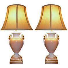 Pair of Neo-Classical Style Porcelain Lamps   From a unique collection of antique and modern table lamps at https://www.1stdibs.com/furniture/lighting/table-lamps/