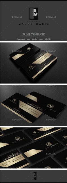 Gold And Black Business Card 2 — Photoshop PSD #gold and white #hipster • Available here → https://graphicriver.net/item/gold-and-black-business-card-2/15220625?ref=pxcr