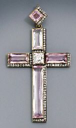 A jewelled gold-mounted pendant cross by Faberge with workmaster mark N.Chistiakov, Odessa 1908-1917