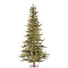6' Vickerman A807561 Ashland Fir Wood Trunk Tree with Tips An - Green Christmas Tree