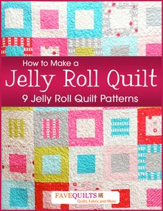 How to Make a Jelly Roll Quilt..This book of free jelly roll quilt patterns includes quilts for all occasions. Make an easy lap quilt pattern for your couch or chair that will brighten up any sitting room, or follow your favorite baby quilt tutorial (if you can even pick just one) to steal the show at a baby shower. Or, if you're ready for warm weather, sew an easy jelly roll race quilt pattern to make a picnic blanket.